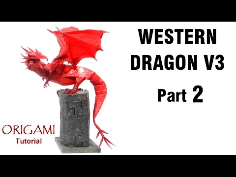 Origami Western Dragon V3 Tutorial (Shuki Kato) Part 2 折り紙 西洋のドラゴン  оригами  Drachen