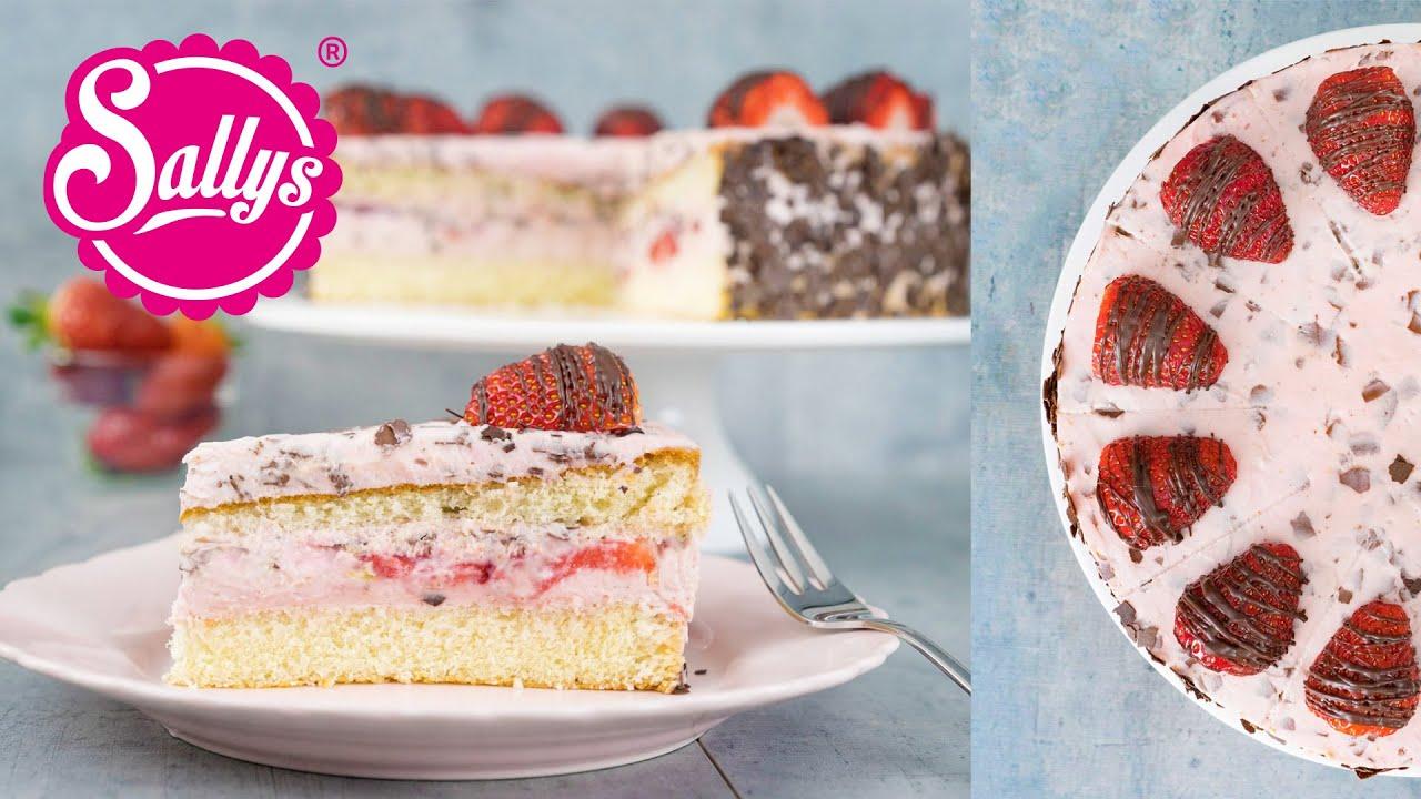 Erdbeer Straciatella Torte Fruhlingstorte Youtube