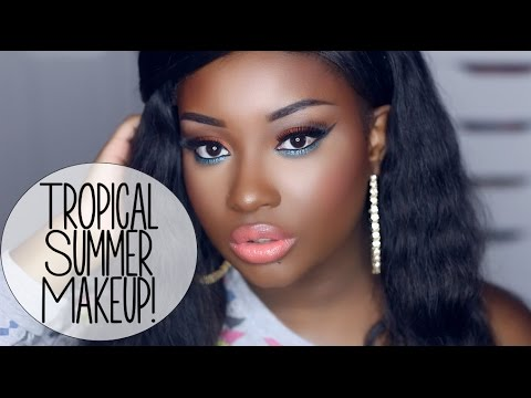 Makeup Tutorial | Tropical Summer Look (Orange & Teal Eyes + Coral Lips)!