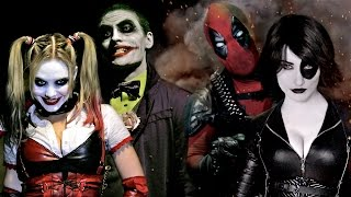 Repeat youtube video JOKER & HARLEY QUINN vs DEADPOOL & DOMINO - Super Power Beat Down (Episode 16)