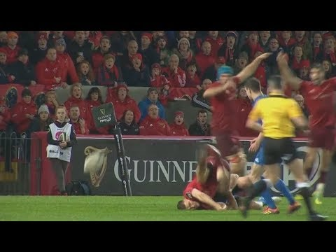 James Lowe sent off for simply stupid tackle. [Munster vs Leinster '18]