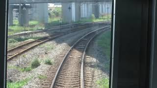 JR東日本E129系「快速SLリレー号」新津行きが新潟駅を発車(車内より)