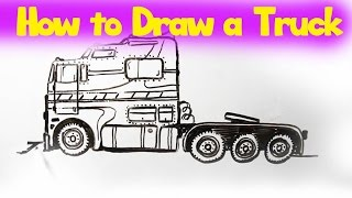 Learn How to Draw a Truck (Cabover) - Big Rig Drawing by LITTLE PUMA!