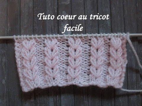 TUTO POINT COEUR AU TRICOT Heart stictch knitting CORAZON PUNTO RUSO DOS  AGUJAS 6aecdab52b3