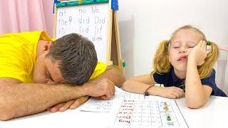 Stacy y papá muestran lo importante que es estudiar bien en la escuela