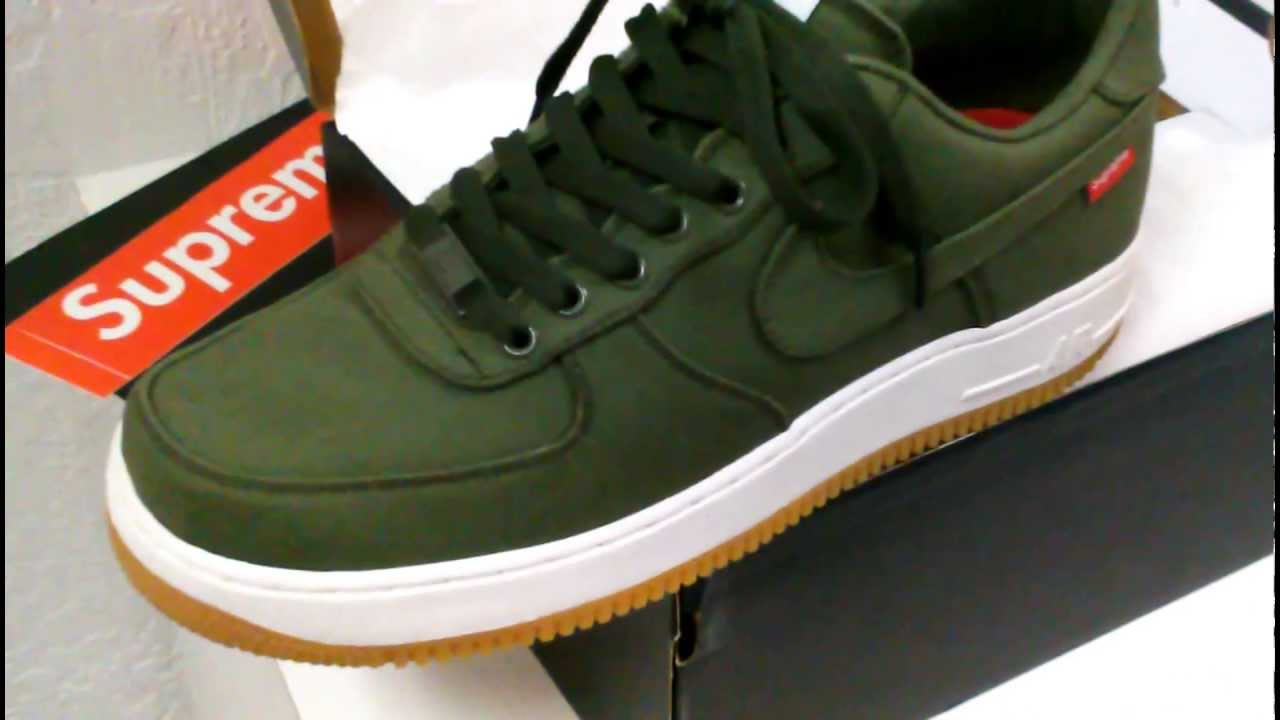 16d9ff8322a116 NIKE AF1  SUPREME  PREMIUM ( OLIVE ) CARGO KHAKI REVIEW IN HD 1080p ...