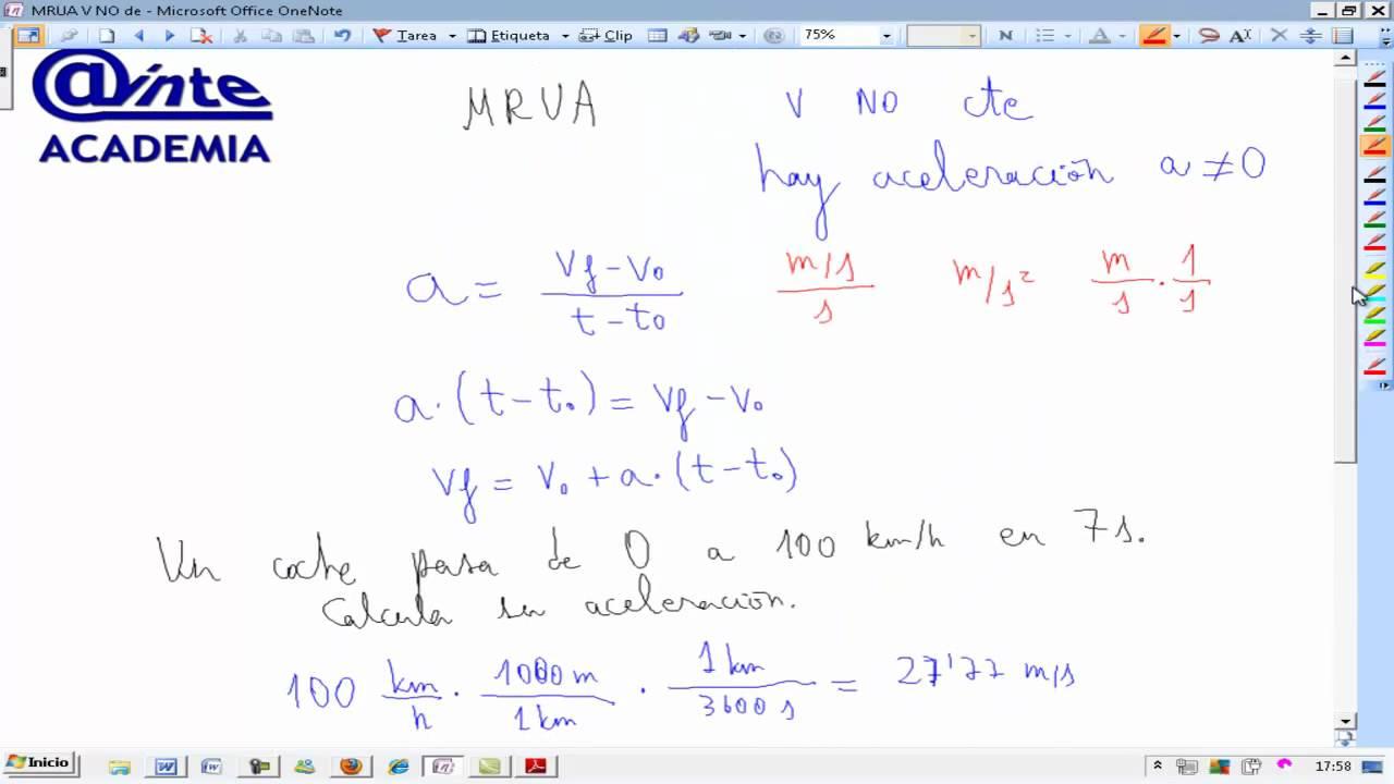 Movimiento rectilíneo uniformemente acelerado Física 4º ESO AINTE ...