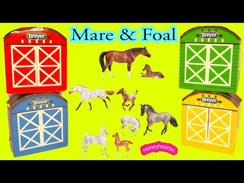 All 4 of Breyer 2016 Stablemates Horse & Foal Complete Set Mom and Baby - Unboxing Video