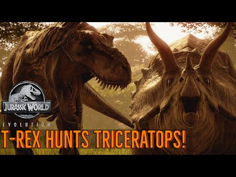 T-Rex Hunts Triceratops - Life in the Cretaceous    Jurassic World Evolution 🦖 [4K] 🦖  
