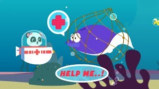 Fun game for kids - Baby learns about sea fishes with Little Panda - Sea animals for baby