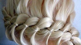 Косичка из 4 прядей.Причёски для средних, длинных волос.Плетение волос/косичек вокруг головы