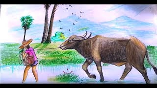 How to draw The Boys Buffalo the cattle to eat grass step by step
