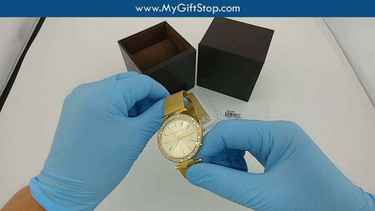 688136deeb40 Michael Kors MK3368 Darci Women s Yellow Gold Mesh Bracelet Watch Video