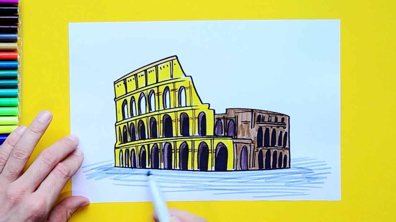 How To Draw The Colosseum Rome Italy Youtube