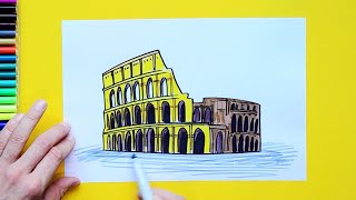 How to draw and color the Colosseum, Rome, Italy
