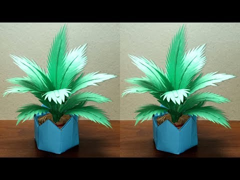 DIY COCONUT TREE   HOW TO MAKE PAPER PALM TREE   DIY PALM PLANT IN A PAPER POT