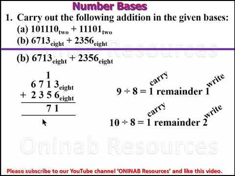Number Bases (Addition and Subtraction)