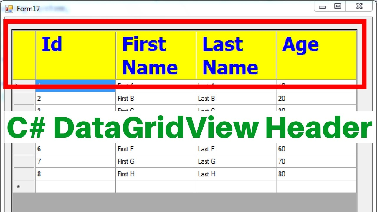 C DataGridView Header Tutorial With Source Code