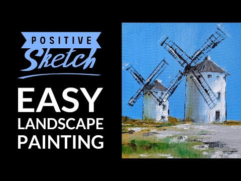Acrylic painting tutorial, Easy acrylic painting, Mills, Landscape painting for beginners, Demo