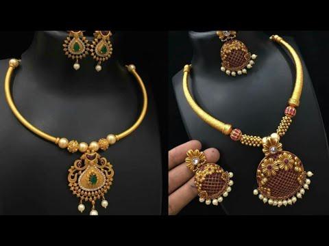 Beautiful Simple Pure Gold Necklace Set Design Ideas Light Weight Gold Necklace Set Design Youtube