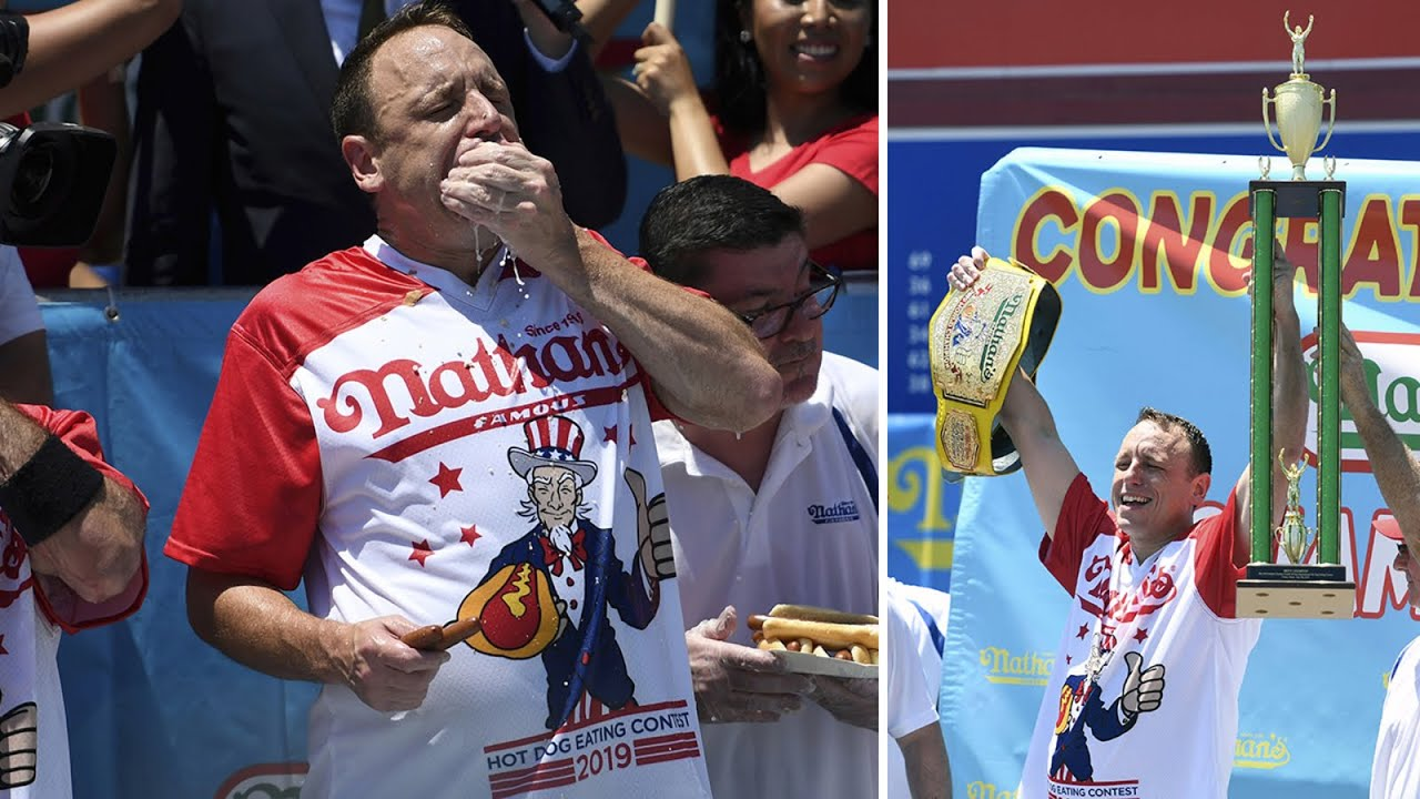 Joey Chestnut, Miki Sudo repeat as champs at Nathan's hot dog ...