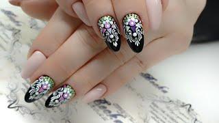 Сложная коррекция ногтей. Форма миндаль. наращивание ногтей. Дизайн ногтей. Камифубуки. Вензеля