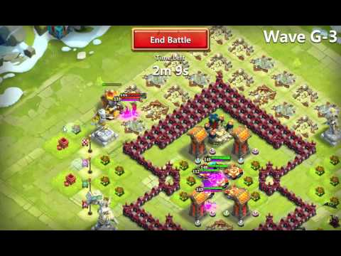 Castle Clash - HBM G Defense With Vlad Dracula, Immortep, Druid, Grizzly Reaper And Thunder God.