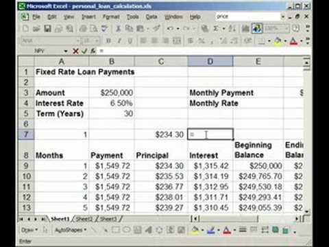 How to find Interest  Principal payments on a Loan in Excel - YouTube - mortgage payment calculator template