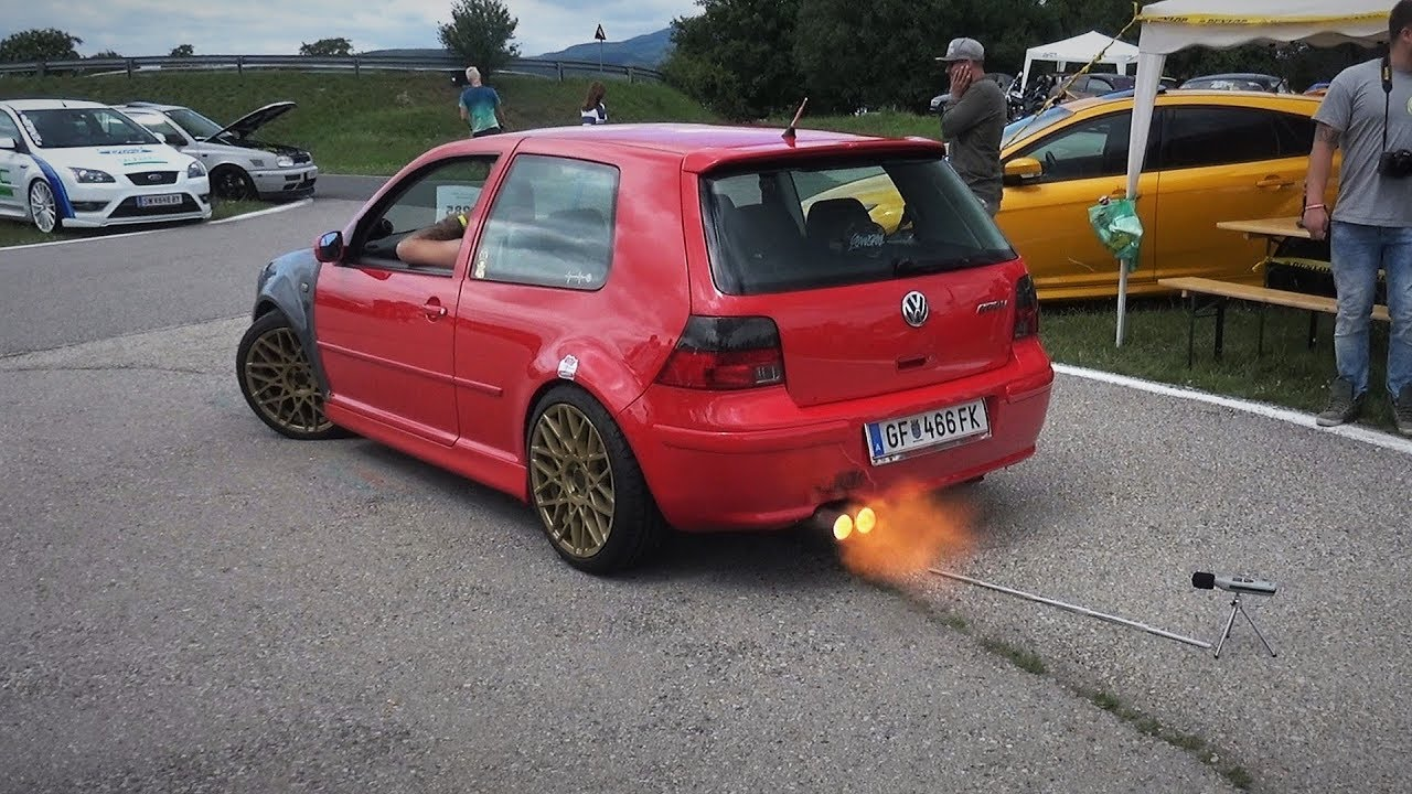 medium resolution of vw golf mk4 gti 1 8t loud antilag sound flames