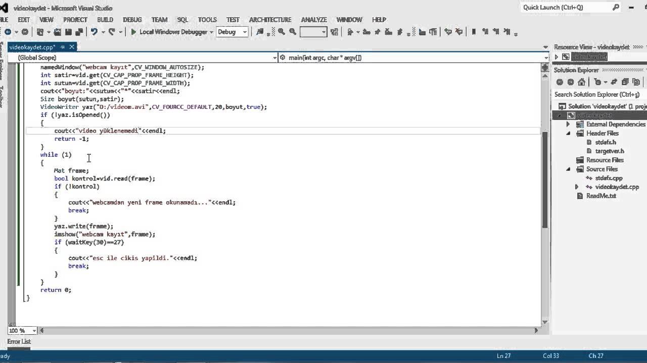 Opencv C++ Ders 7 (Webcam Video Kaydetme)