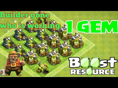 clash of clans boost everything with one gem| bye bye builder 1 gem boost clashiversary new builder