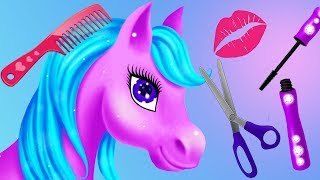 Fun Horse & Princess Hair Salon Makeup Care Games - Magic Princess Makeover Kids Games