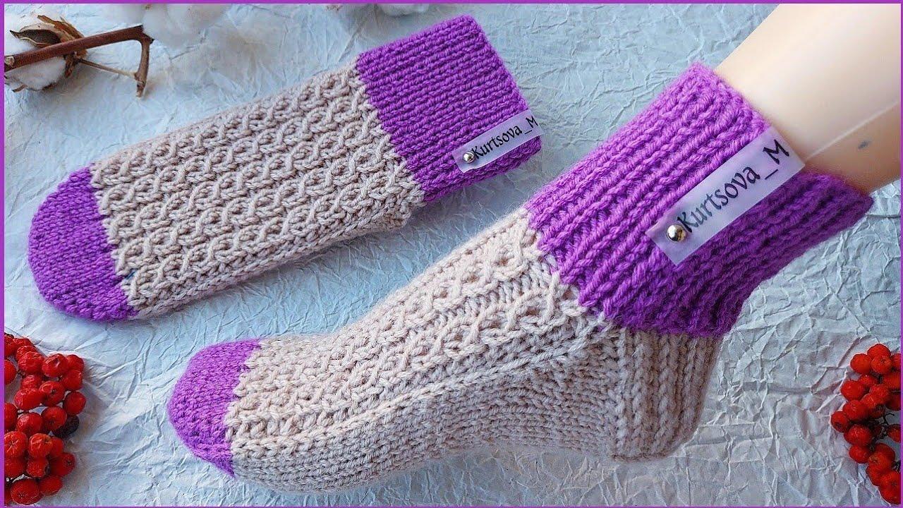 Носки- следки на двух спицах БЕЗ ШВА. Носки с «Квадратной пяткой» подробный МК.
