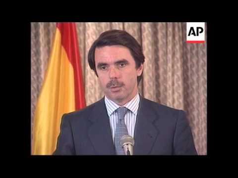 USA: SPANISH PRIME MINISTER AZNAR MEETS BILL CLINTON