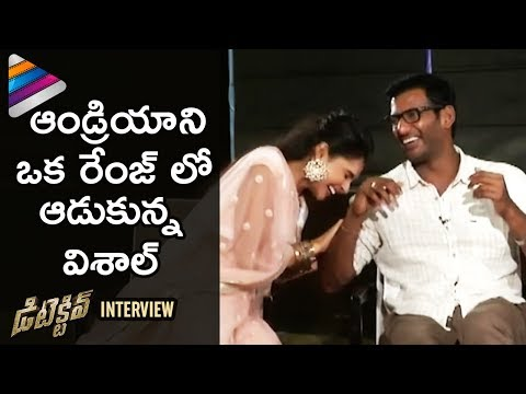Vishal Makes Fun of Andrea Jeremiah | Detective Movie Interview | Anu Emmanuel | Telugu Filmnagar