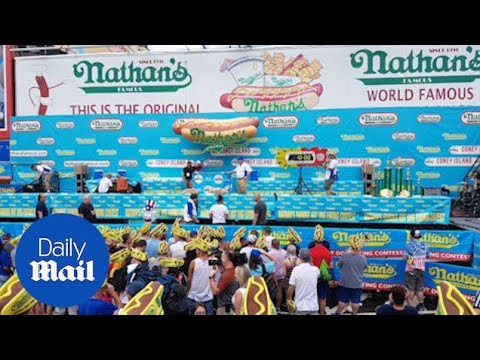 Nathan's Famous Hot Dog Eating Contest Gets Underway - Daily Mail