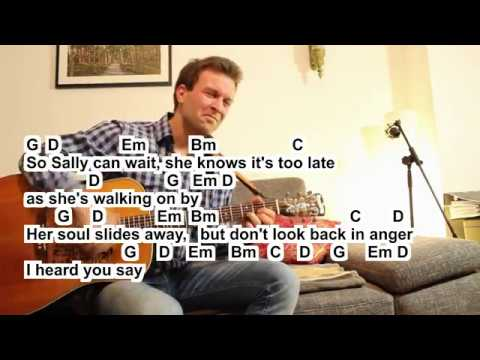 Oasis Dont look back in anger Cover small easy Lesson Tutorial How ...