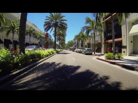 Driving down Rodeo Drive, Beverly Hills, California