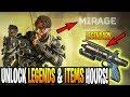 Secret UNLOCK Mirage & Legendary Items In Hours! APEX LEGENDS (Level Up Fastest)