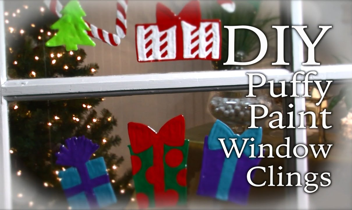 diy holiday puffy paint window clings - Window Clings