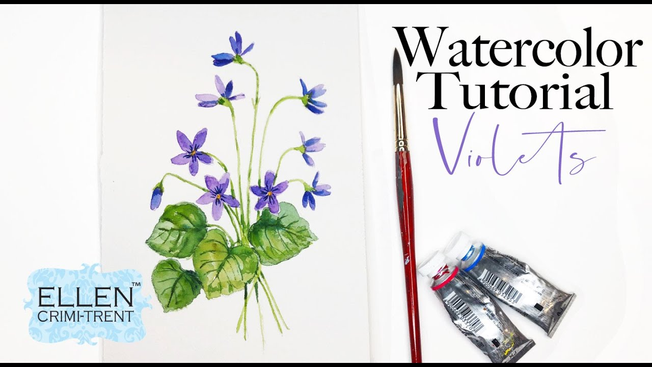 Watercolor Violets Painting Tutorial