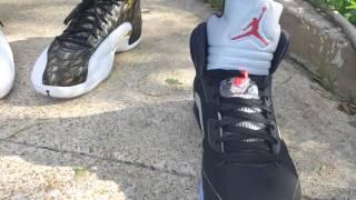 2016 jordan 5 black metallic with nike air on back onfoot