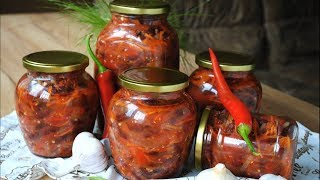 простой Салат с Фасолью на Зиму  Быстрая фасоль в томатном соусе с овощами