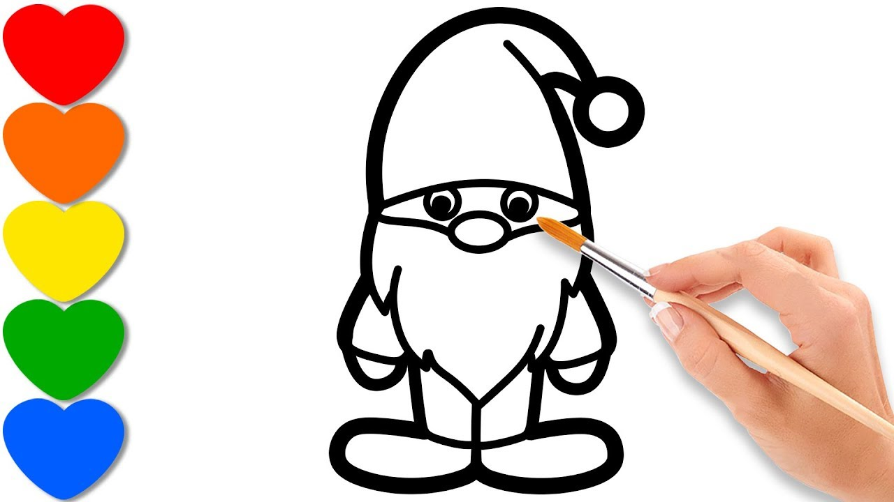 Christmas Gnome Drawing.Christmas Gnome Painting For Toddlers Coloring For Kids
