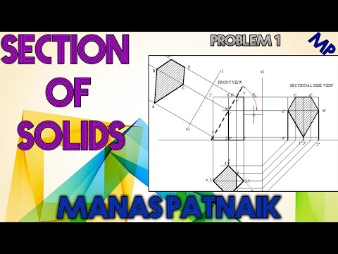 1. How to draw the Front View, Sectional Top view and true shape of section of square prism