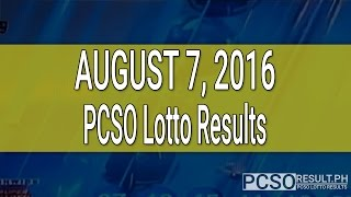 PCSO Lotto Results August 7, 2016 (6/58, 6/49, Swertres & EZ2)