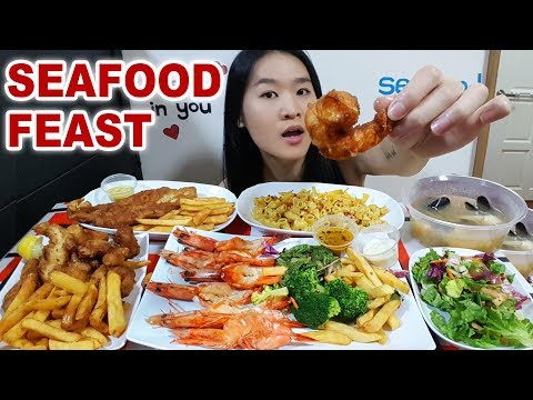 SEAFOOD FEAST! Fish N' Chips, Fried Seafood Platter, Mac N' Cheese, Mussels | Mukbang Eating Show