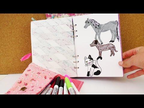 Tiere malen | Hund, Katze & Pferd malen im Filofax | Kalender gestalten zeichnen mit Bleistift