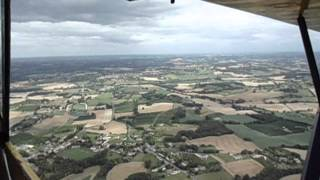 Flying a J3 Cub to the south of Bergerac Airport