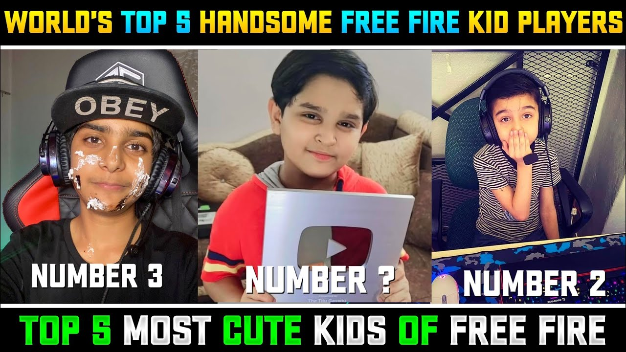 WORLD'S TOP 5 MOST HANDSOME FREE FIRE KID PLAYERS || CUTE KIDS OF FREE FIRE - THEDA SINGH